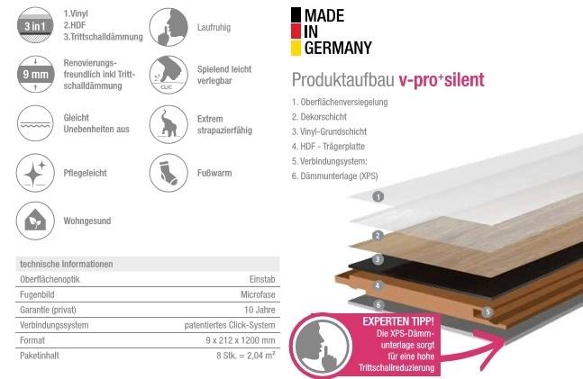 moderna vinylboden v pro silent alaska pinie inkl trittschall. Black Bedroom Furniture Sets. Home Design Ideas